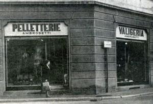 Negozio Valigeria Ambrosetti nel 1930